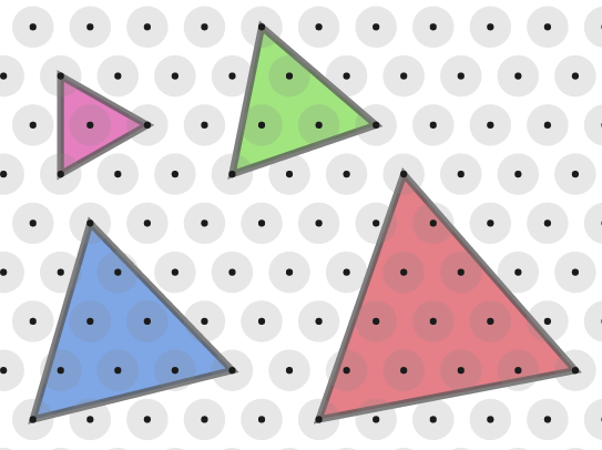Four equilateral triangles drawn on an isometric grid with the bottom right corner on the line above the bottom left hand corner