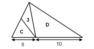 Triangle with bases 8 and 10