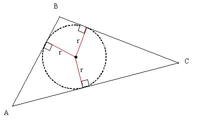 triangle with inscribed circle and radius