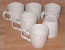 Picture of six cups in a triangle