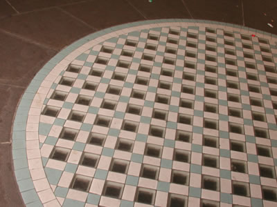 Picture of a circular area tiled with squares