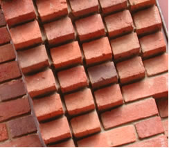 Pattern of bricks piled in a pyramid
