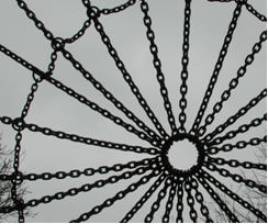 Radial Pattern of chains joined at the centre and by a circle of chains around the edge