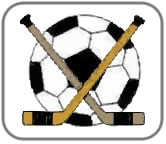 Football and two Hockey Sticks crossed, a bit like a school emblem