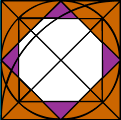 white octagon surrounded by small purple triangles and larger orange triangles