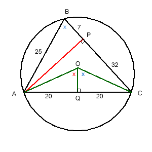 From the centre O of the circle draw linesOA and OC and the perpendicular from O to AC to meet AC at Q.