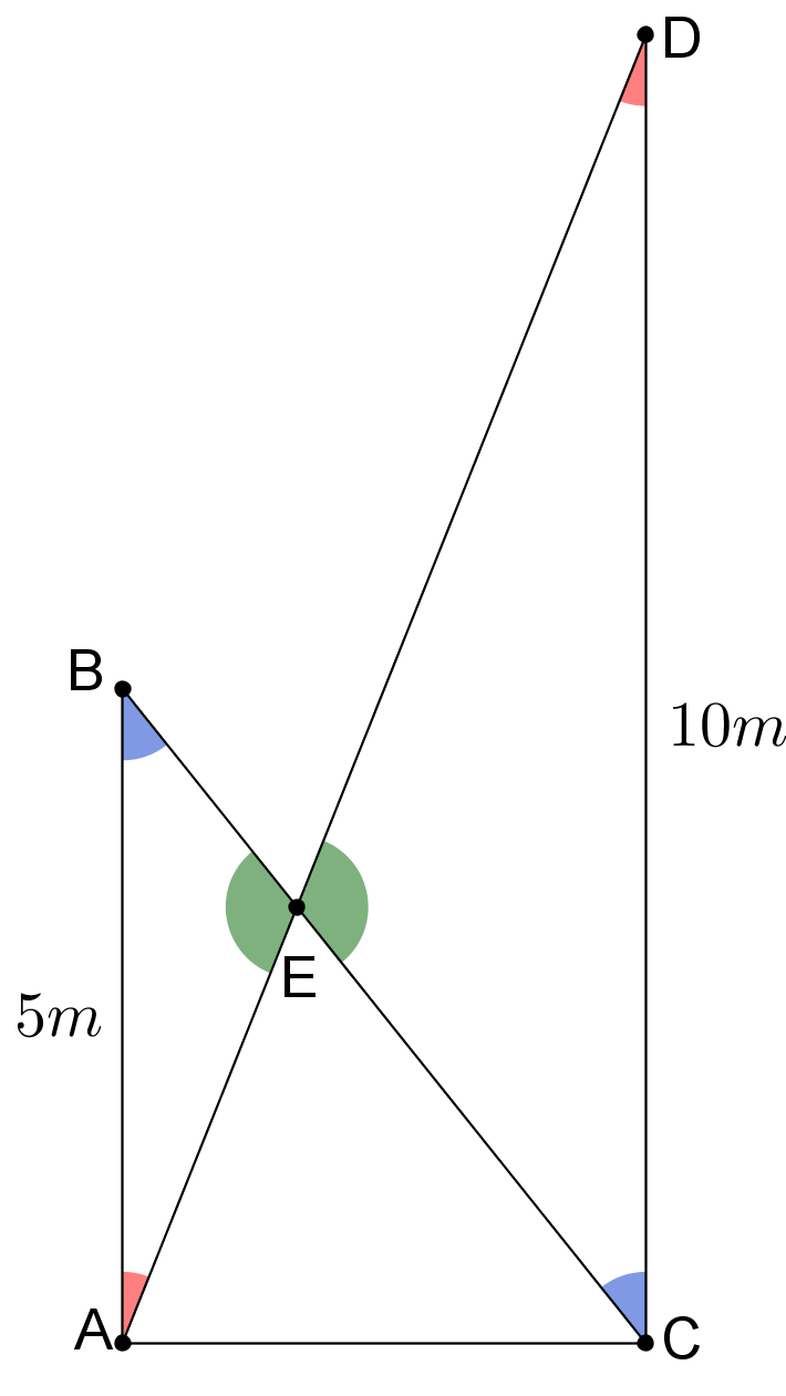 Two ladders diagram with equal angles marked
