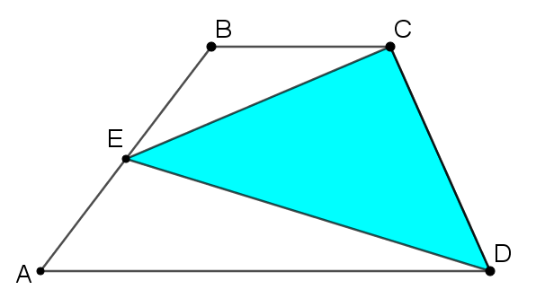 Trapezium ABCD, E is the midpoint of AB, Triangle CED is shaded blue.