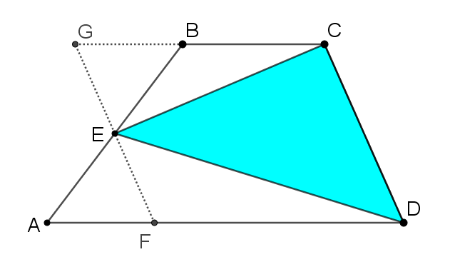 Trapezium ABCD, E is the midpoint of AB. The line through E parallel to CD has been added. It intersects AD at F, and the continuation of BC at G.