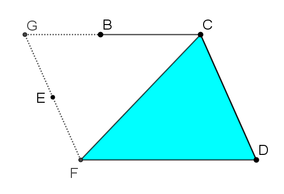 Lines from the previous picture have been erased to leave parallelogram FGCD. Triangle FCD is shaded in the same blue as the original triangle in the first image.