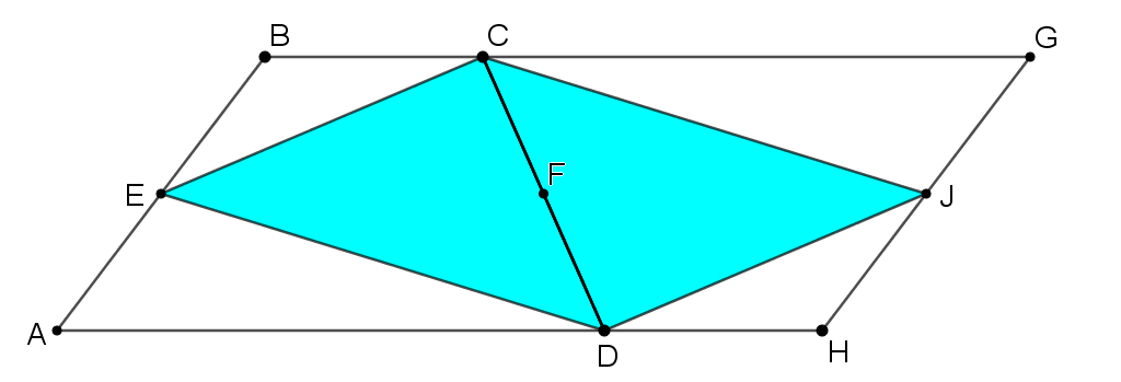 Trapezium ABCD, E and F are midpoints of AB and CD. Triangle CED is shaded blue. The whole shape has been rotated 180 degrees around point F.