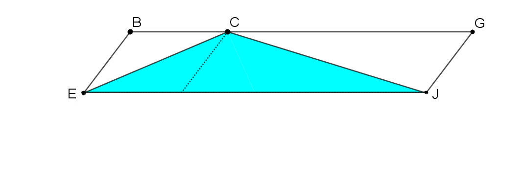 AEFD has been rotated 180 degrees around F to create a parallelogram EBGJ. Triangle ECJ is shaded blue.
