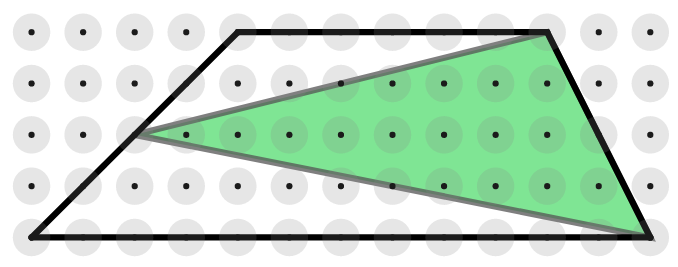 Trapezium, parallel sides length 6 and 12, height 4 units. The midpoint of the left side is joined to the vertices on the right side to form a triangle, shaded green.
