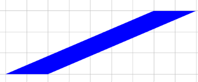 parallelogram with base 2 and height 3 (top moved 7 units to the right relative to the base)