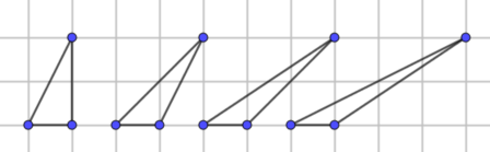 Four triangles with base of 1 and height of 2, successively more sheared.
