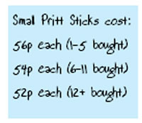 table showing prices of pritt sticks