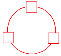 Three blank squares joined in a ring