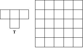 t shape and 5x5 grid
