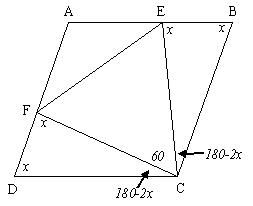 diagram of triangle inside rhombus with illustrated angles