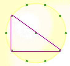 right-angled triangle in 10 pt circle