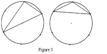 one circle containing isosceles, one circle containing right-angled triangle