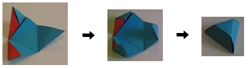 folding a tetrahedron to make a partially truncated tetrahedron