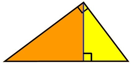diagram with similar right-angled triangles
