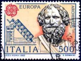 stamp showing Archimedes