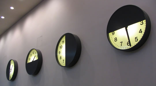 Four clocks in a row
