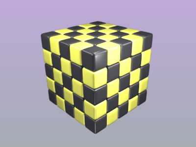 A 5 by 5 by 5 cube in a yellow/black chequerboard