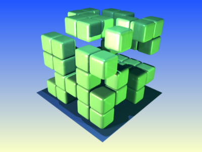 A 125 cube sparsely made of small floating cubes