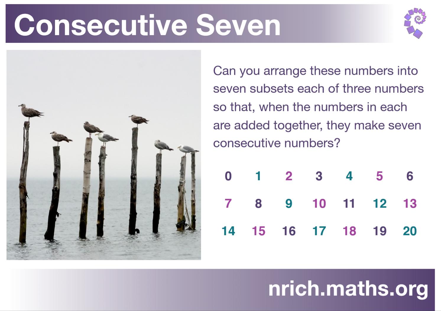 Consecutive Seven Poster : nrich.maths.org
