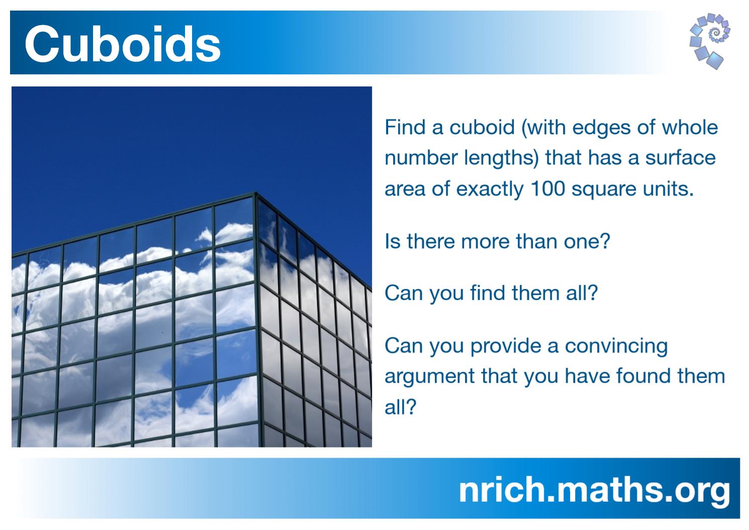 Cuboids Poster : nrich.maths.org