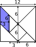 tangram with lengths marked