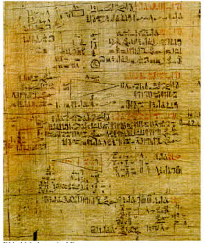 Part of the Rhind Papyrus