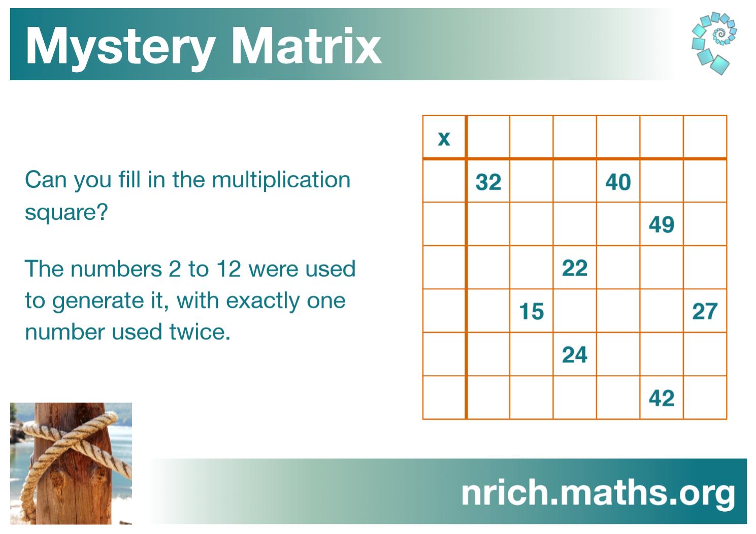 Mystery Matrix Poster : nrich.maths.org