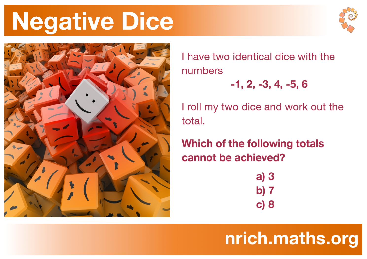 Negative Dice Poster : nrich.maths.org