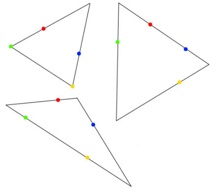 triangles through four dots