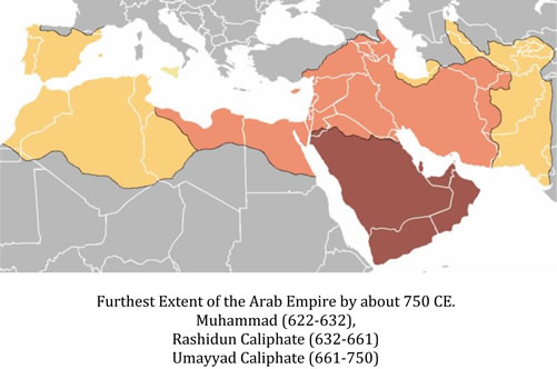Exent of Arab Empire by 750 CE