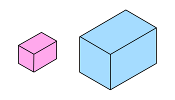 Small and enlarged cuboid