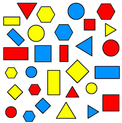2D shapes triangles, circles, hexagons, squares, oblongs in three different colours (red, blue and yellow) and two different sizes
