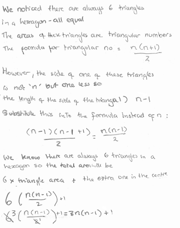 student's method is to use the formula for the (n-1)th triangular number n(n-1)/2, multiply by six, and then add 1 for the cable in the centre