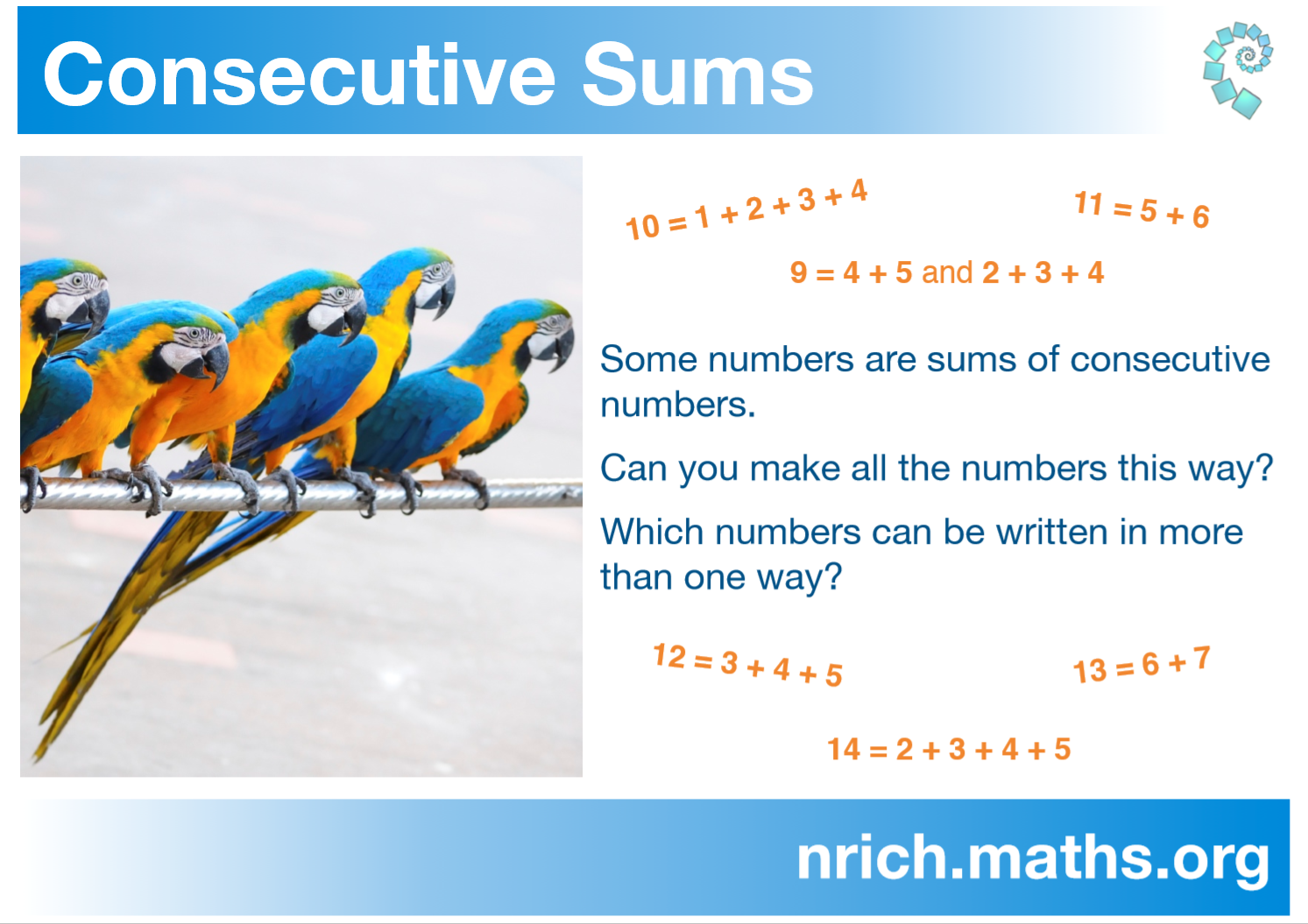 Consecutive Sums Poster : nrich.maths.org