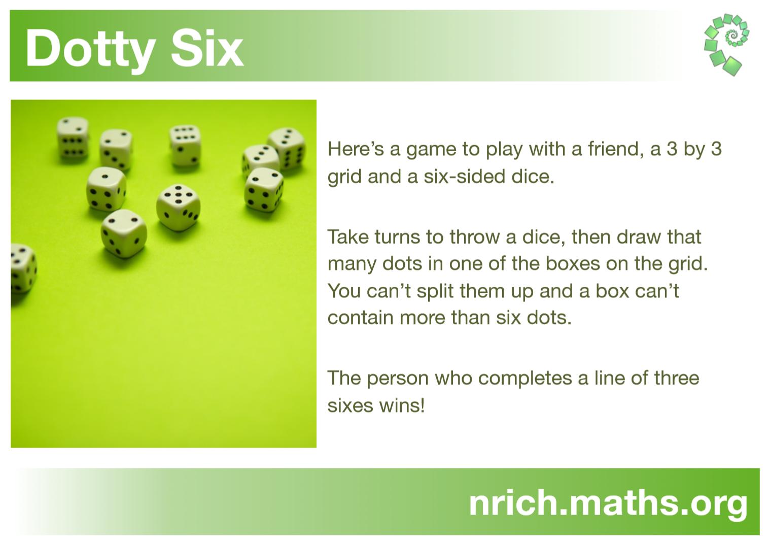 Dotty Six Poster : nrich.maths.org