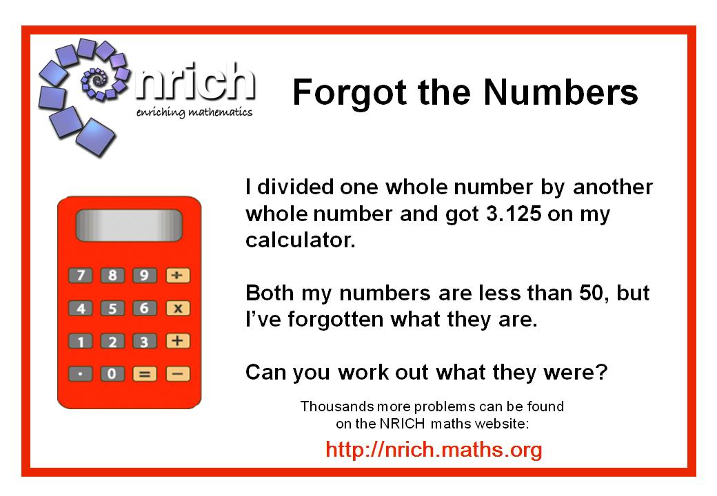 Forgot the Numbers Poster : nrich.maths.org